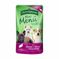 Erwachsener Hund - Mini Menü Rebhuhn + Spätzle + Preiselbeeren